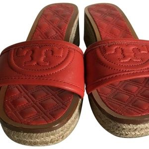 TORY BURCH Orange lamb Leather Slip On Sandals 6.5